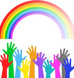 Multicolored hands on background of the colorful vector