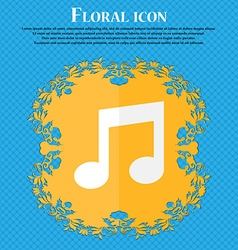 Music note sign icon Musical symbol Floral flat vector