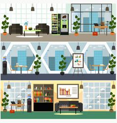 Office interior flat poster set vector