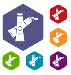 oil paints icons set hexagon vector image