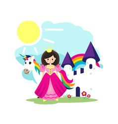 princess unicorn and white castle vector image