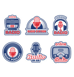 radio show badges air podcast audio studio logo vector image