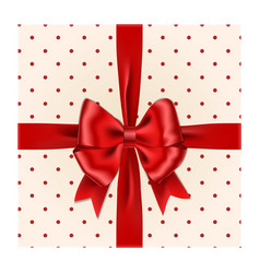 red ribbon bow with gift box isolated on wh vector image