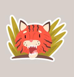 Red tiger in plants cartoon vector