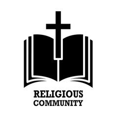 Religious community emblem with holy bible and vector