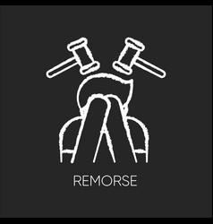 Remorse chalk white icon on black background vector