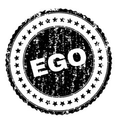 Scratched textured ego stamp seal vector