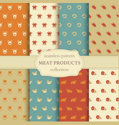 seamless pattern on a theme of meat products vector image