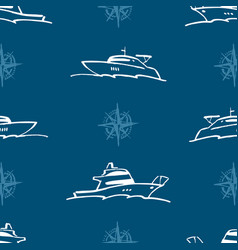 Seamless pattern outlines contemporary yachts vector
