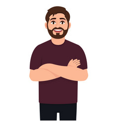 Self confident bearded man the guy put his hand vector