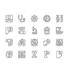set cancer and chemotherapy line icons vector image