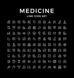 set line icons of medicine vector image