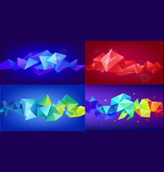 set of abstract geometric 3d facet shapes vector image