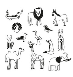 set of animals on a white background vector image