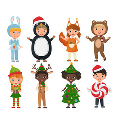 Set of cute kids wearing christmas clothes vector