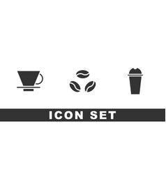 Set v60 coffee maker coffee beans and milkshake vector