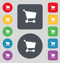 Shopping basket icon sign A set of 12 colored vector image