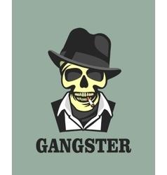 Skull in hat gangster vector