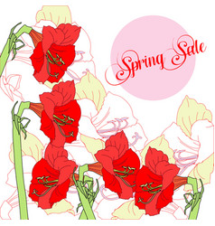Spring sale background with flowers vector
