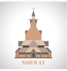Stave church in borgund icon vector