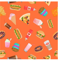street fast food seamless pattern vector image
