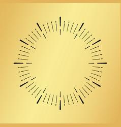 Sun burst vintage clock watch on golden vector