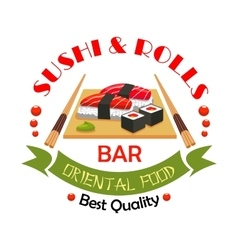 Sushi bar japanese food restaurant sign design vector image vector image