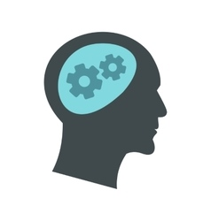 Thought process in head icon flat style vector
