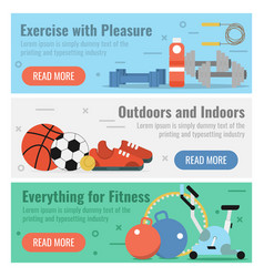 Three banners for fitness sport vector