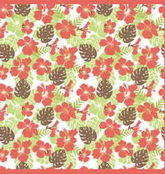 tropical leaves and flowers hibiscus flower vector image vector image
