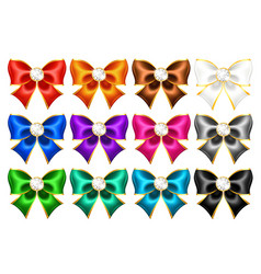 Twelve realistic bows with gold border and gems vector