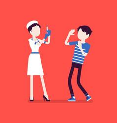 vaccination nurse patient in fear vector image