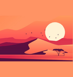 vivid sunset over african desert dunes vector image