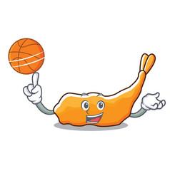 With basketball tempura character cartoon style vector