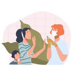 Woman and kid refusing to take coronavirus vaccine vector