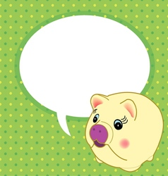 yellow pig with speech bubble vector image