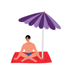 young man sunbathing on his towel under sunshade vector image