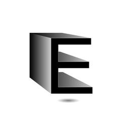 3d alphabet E in grey vector image