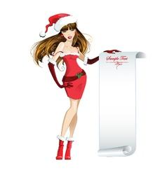 Beautiful girl dressed as Santa Claus vector image vector image