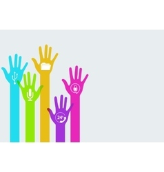 colorful hands technology infographics vector image