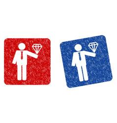 groom diamond grunge textured icon vector image