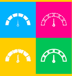 speedometer sign four styles of icon vector image