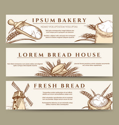 fresh bread and bakery banners vector image vector image