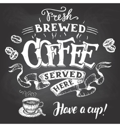 Fresh brewed coffee served here hand lettering vector image