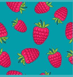 seamless pattern raspberries on azure background vector image vector image
