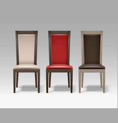 set of room chairs vector image vector image