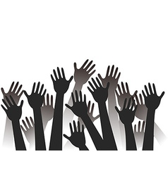 hands raised background vector image