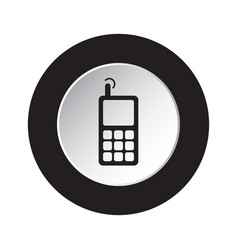 round black white button - old mobile phone vector image