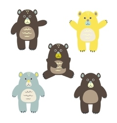 Set of fun cartoon bears for kids vector image vector image