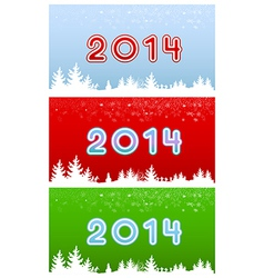 set of images of digits in 2014 on three different vector image vector image